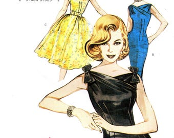 Butterick 6582 RETRO 1960s Wiggle COCKTAIL SHEATH Dress and Full Skirted Dress