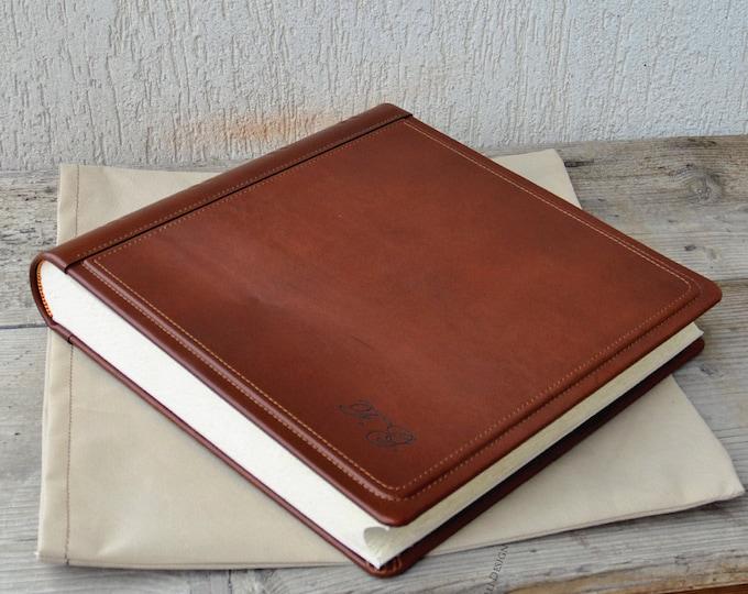 Initials Photo Album, Personalized Leather album, Scrapbook Album, Leather Anniversary Gift, Travel photo album, Wedding gift, Family album