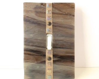 Brown and Gray Light Switch Cover, Stained Glass Switch Plate, Single Toggle Switchplate, Decorative Switch Cover, Mosaic Switch Plate, 8959
