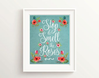 Wall Art Quotes for Girls Room Prints for Play Rooms, Floral Nursery Wall Decor, Girl Bedroom Wall Quotes, Nursery Floral Decor Print Quote