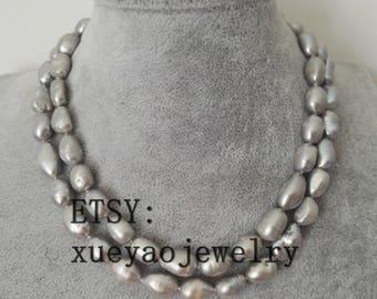 Pearl Necklace- Baroque pearl necklace, gray freshwater pearl necklace, 10-12 mm gray pearl necklace
