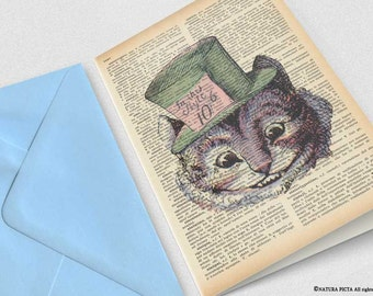 Cheshire smiling cat we're all mad here Greeting Card-birthday card-tea party card-Invitation-funny card-Alice card-by NATURA PICTA-NPGC024
