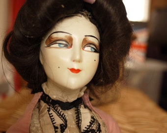 Boudoir Doll, 1930's, In Victorian in silk and lace, Vera is looking for a new home so she can glance with her beautiful eyes