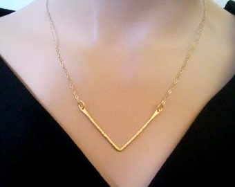 Chevron Necklace, 14k Hammered Gold Necklace, Strand Necklace, Statement Necklace,Chevron 14k Gold filled Necklace