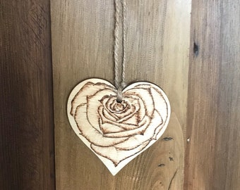 Decorative heart, pyrography (wood burning).