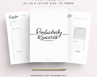 Productivity Planner, Goal Planner, Success, Printable Planner Pages, Weekly Schedule, A5 Planner, Undated Planner, Business Planner, Insert