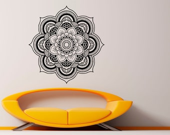 Mandala Wall Decal Flower Mandala Vinyl Sticker Indian Lotus Murals Interior Home Decor (14ma4l)
