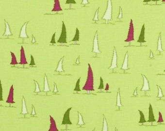 1 Yard Woodland Wonderland LEANING TREES Evergreen Fantasy Forest JY12 Lime Jay McCarroll Free Spirit Quilting Sewing Fabric