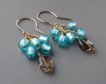 Smoky Quartz Blue Murano Gold Fill Earrings Gemstone Handmade Glass