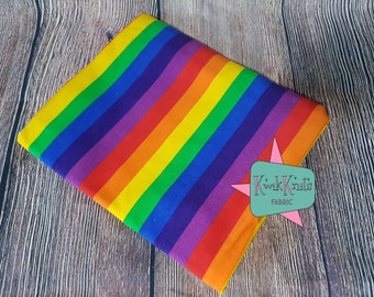 Bright - rainbow - stripes - cotton lycra - stretch - knit fabric - 95/5 - four way - stretch knit - fabric - rainbow fabric