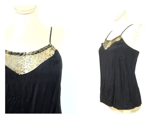 Black Tank Top camisole 1970s Leopard Print Tank Top Negligee Party Top Womens 80s Glam Tank Top Animal Print Pin Up Girl Vintage size Small