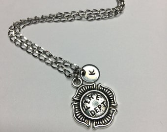 Firefighter necklace Fire Department necklace Firefighter jewelry Personalized jewelry Initial necklace Monogram Best Friend necklace