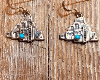 Southwestern Navajo Turquoise and Sterling Silver Triangular-shaped earrings Western
