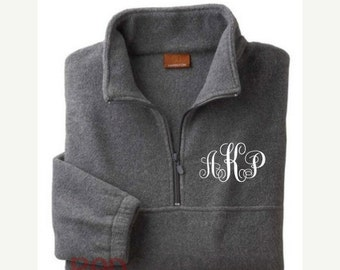 Monogrammed Fleece Pullover, Monogram Fleece Jacket, Personalized Pullover, Monogram Sweatshirt, Monogrammed Half-Zip Jacket-Adult UNISEX