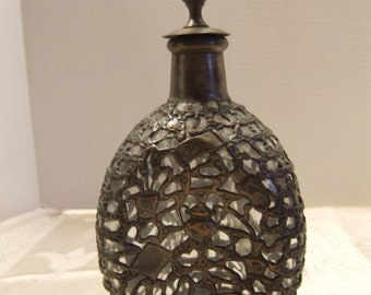 Decorative Bottle with Bronze-tone filigree