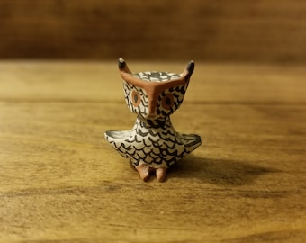Vintage Ceramic Miniature Owl, Great Horned Owl, Hand painted | Dollhouse, Fairy Garden, Miniatures