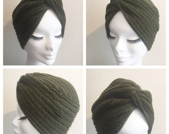 Army Green DIVA TURBAN Winter Collection Vintage Inspired handknitted Turban 100% Alpaca Wool
