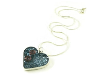 Orgone Energy Pendant - Blue Heart with Lapis Lazuli Gemstone - Positive Energy Generator - Artisan Jewelry