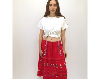 Niña Skirt // vintage 70s Guatemalan cotton dress boho ethnic hippie festival hippy sun mini embroidered 1970s Mexican festival // O/S