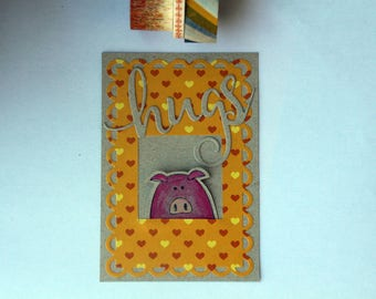 handmade - pig - hugs - valentaines day - 8 of march