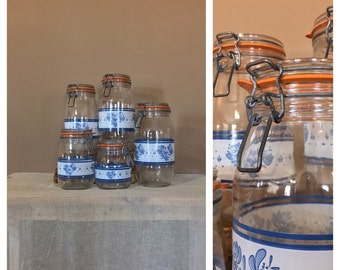 Vintage Glass Canister Set 5 / Canister Set / Countertop Canisters / France Canisters / French Canisters / French Canisters
