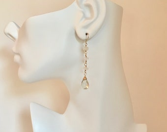 Moonstone and green amethyst gemstone gold dangle earrings