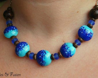 Handmade Lampwork Glass necklace * coco Blue * Blue/lapis, necklace wood beads Lampwork Glass necklace, blue glass necklace