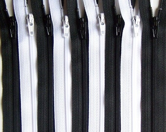 SALE Wholesale 100 YKK Zippers -Black and White Bundle- 3,4,5,6,7,8,9,10,11,12,14,16,18,20,22,28 inches