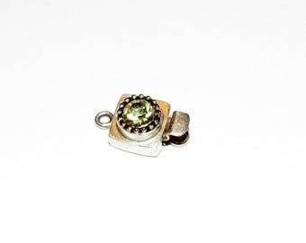 Sterling Silver Box Clasp- Crystal Clear