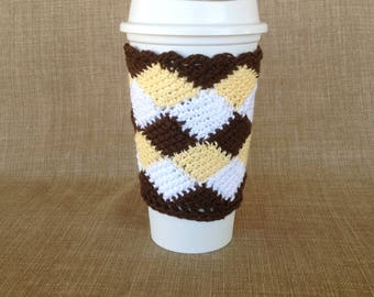 Crocheted Cup Sleeve in Brown, Yellow, White