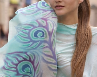 Turquoise Silk Hand Painted  Scarf