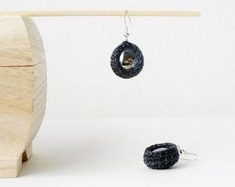 Dark Grey Earrings Teardrop Dangle Earrings Charcoal Textile Earrings Small Crochet Ball