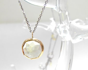 Lemon Citrine Nena Necklace with Recycled 14k Gold & Sterling Silver by Michelle Lenae Jewelry