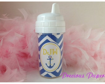 Personalized kids sippy cups Nautical sippy cup - anchor sippy cup - anchor personalized cups - nautical kids cups