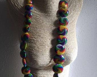 swirl necklace multicolored elastic