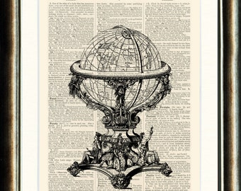 World Globe- Upcycled vintage image printed on a late 1800s Dictionary page Buy 3 get 1 FREE