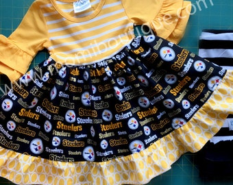 Pittsburgh Steelers football dress Momi boutique custom dress