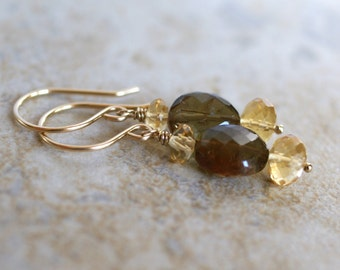 Andalusite earrings, citrine drop earrings, 14k gold fill French hook ear wires, citrine jewelry, Andalusite jewelry gift