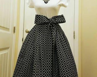 Black and white Midi skirt, midi skirt, pleated midi skirt