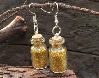 Handmade cute gold glitter filled glass bottle earrings