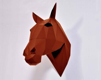 Horse decor, DIY kit, 3d papercraft, paper trophy, housewarming gift, farmhouse decor, 3d wall art, Paper animal, equestrian decor.