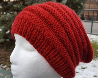 Red Beanie / Red Slouchy Hat / Red Ribbed Beanie / Knit hat Red Slouchy hat / Knit winter slouchy hat / Hipster knit hat / Red beret