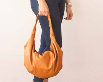 SALES Hobo slouch bag in brown leather, shoulder everyday bag small shoulder bag slouchy purse hobo purse women small bag - Mini Kallia bag