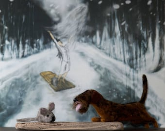 Dachshund, Teckel and Mouse, Needle Felted, One of A Kind, Sculpture, Art