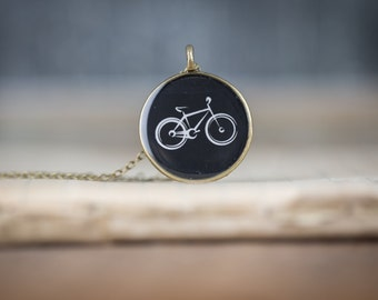 Bike Necklace - Miniature Pendant - Vintage Typewriter Key Inspiration - Gift for Bicycle rider - Glossy Resin Charm