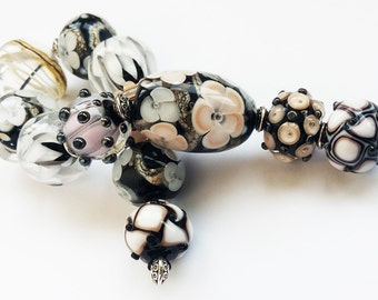 Glass Beads - Handmade Lampwork Bead Set for Jewelry, Black White, Buttermilk Beads with Flowers.