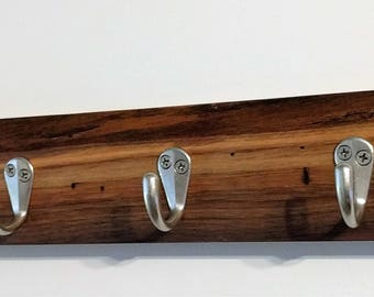 Live Edge Black Walnut Coat Hook with 6 Nickel Single Hooks