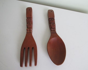 Vintage Carved Tiki Style Wooden Fork and Spoon/Wooden Kitchen Decor