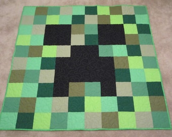 Minecraft Creeper Pixel Patchwork Quilt Green New Handmade Xbox Video Game Lap Twin and Full Size Available