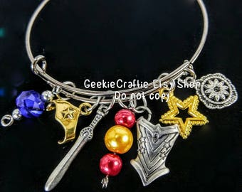 Gun metal tone Wonder Woman bangle DC bracelet